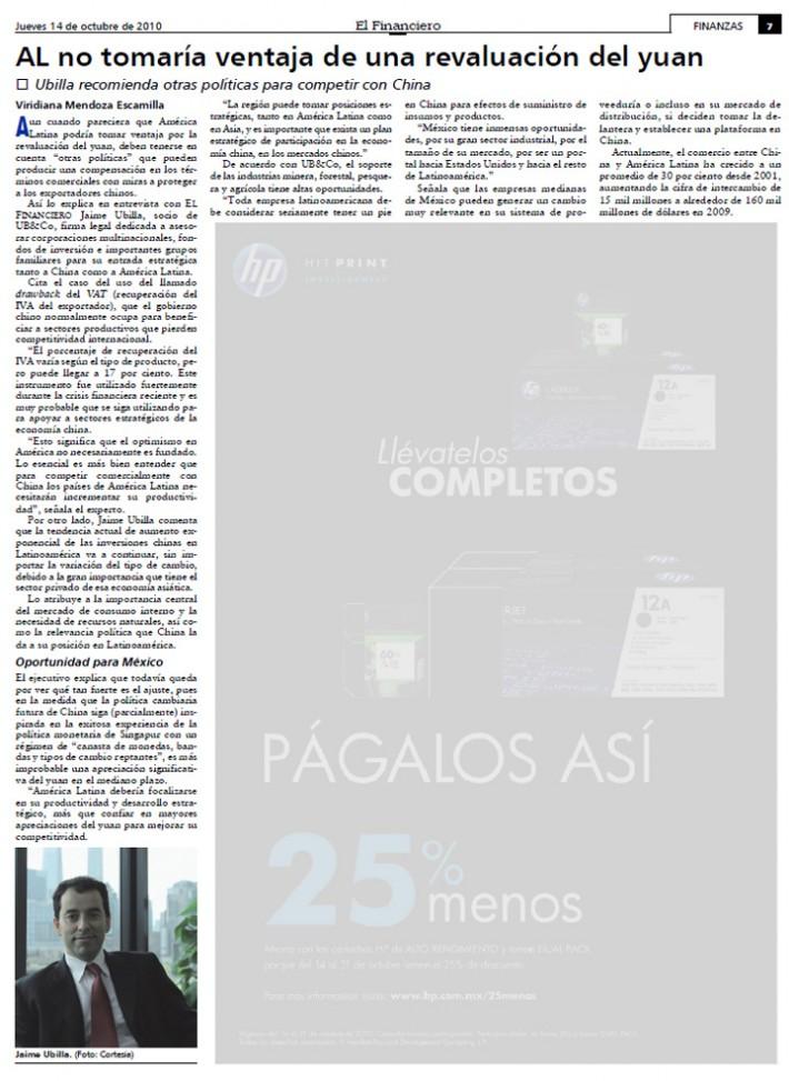 Entrevista Diario El Financiero – México